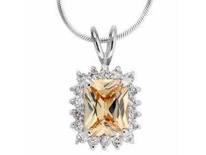 Sterling Silver Champagne and Simulated Diamond CZ Square Pendant