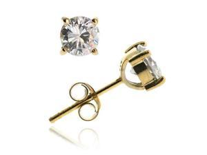18K Gold Over Sterling Silver CZ 6mm Round Stud Earrings