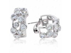 Sterling Silver Designer Simulated Diamond CZ Bubble Hoop Earrings