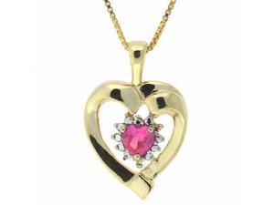 Vermeil (24k Gold over Sterling Silver) Created Pink Sapphire and Genuine Diamon