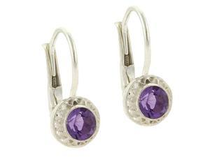 Sterling Silver Genuine Amethyst stone round filigree LeverBack Lever Back Earri