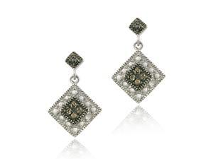 Sterling Silver 1/10 ct. TDW Champagne Diamond Dangle Earrings