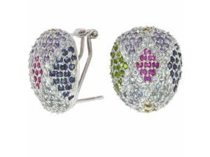 Sterling Silver Multi Color Simulated Diamond Cubic Zirconia Oval Earrings