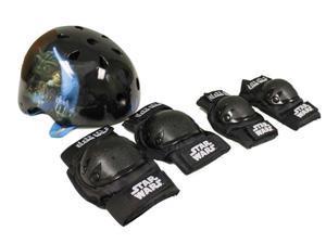 Star Wars 97930 Child Helmet with Elbow Knee Pads Bicycle/Skate Combo Kids - Black