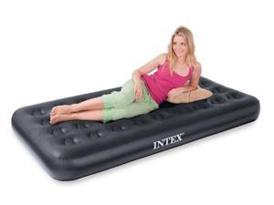 INTEX Twin Airbed Velvet Flocked Inflatable Bed Air Mattress & Built-In Pump