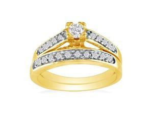 1/4ct Ladies Traditional Diamond Bridal Set, 10K Yellow Gold