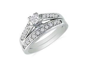 1/2ct Ladies Traditional Diamond Bridal Set, 10K White Gold