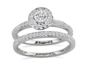 Gorgeous 1/2ct Pave Diamond Bridal Set, Round Center in 14k WG
