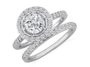 Gorgeous 1 1/2ct Pave Diamond Bridal Set in 14k White Gold