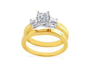 1/2ct Princess and Baguette Diamond Bridal Set in 14k Yellow Gold