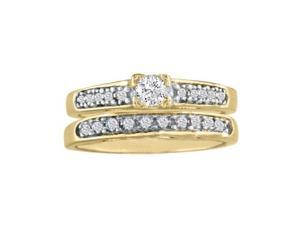 1ct Ladies Traditional Diamond Bridal Set, 14K Yellow Gold