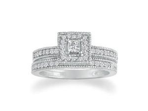 1/2ct Princess Diamond Bridal Set in 14k White Gold
