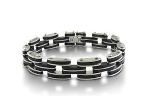Masculine 8-Inch Men's Stainless Steel and Carbon Fiber Bracelet