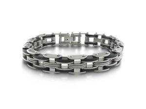 8.5 Inch Men's Stainless Steel and Carbon Fiber Bracelet