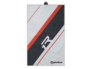 NEW TaylorMade R1 Cart Towel for Golf Bag -Clean Clubs! White / Gray Microfiber