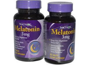 Natrol Melatonin Tablets 3mg, - 60 Tablet Bottles
