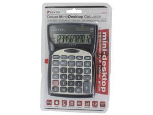 Sentry CA275 Mini Desktop Calculator with Clock Silver