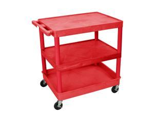 Luxor Rdtc221Rd 3 Shelf Tub Cart-Red