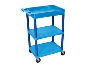 Luxor Bustc122Bu 3 Shelf Blue Tub Cart With
