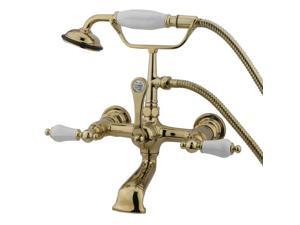 Kingston Brass Cc553T2 Clawfoot Tub Filler With Hand Shower - Polished Brass Finish