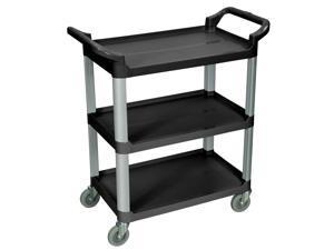 Luxor SC12-B Black 3 Shelf Serving Cart