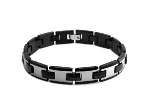 Two Tone Tungsten Carbide Link Bracelet