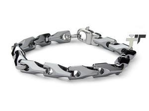 9mm Tungsten Horseshoe-Style High Polish Link Bracelet - Length 9""