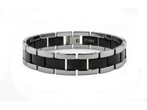 Two Tone Black Tungsten Carbide Men's Bracelet