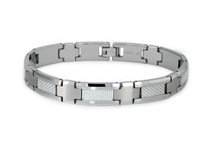 Tungsten Carbide Bracelet with White Carbon Fiber Inlay