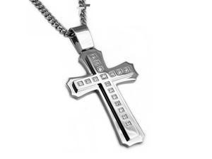 Stainless Steel Cross Pendant w/ CZ's