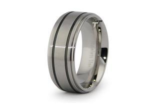 Stainless Steel Ring w/ Black Resin Inlay