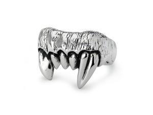 "Stainless Steel Oxidized ""Fang"" Ring"