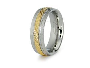 Gold Plated Stainless Steel Mens Wedding Band 7.5mm