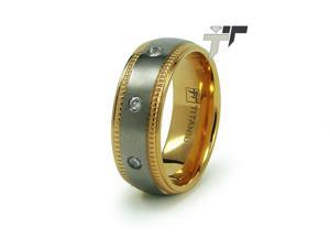 Titanium 14K Gold Plated Wedding Ring w/ CZ