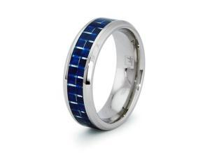 Stainless Steel Ring with Blue Carbon Fiber