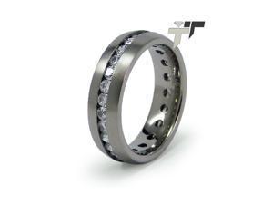 Titanium Wedding Ring with Cubic Zirconia