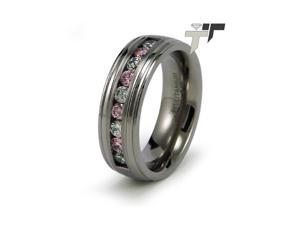 Titanium Pink and White CZ Ring