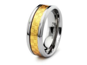Titanium Ring with Golden Carbon Fiber