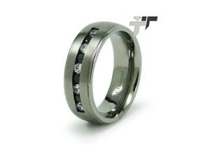 Titanium Black And White CZ Ring
