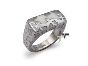 Stainless Steel Women's Ring w/ White Resin Inlay