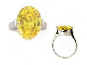 Stainless Steel Topaz CZ Solitaire Ring