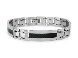 Stainless Steel Men's Link Bracelet w/ Black Carbon Fiber Inlay