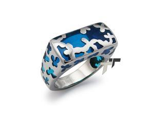 Stainless Steel Women's Ring w/ Blue Resin Inlay