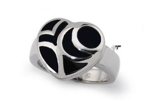 Ladies Heart Stainless Steel Ring w/ Black Resin Inlay