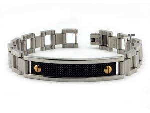 Stainless Steel Carbon Fiber ID Bracelet