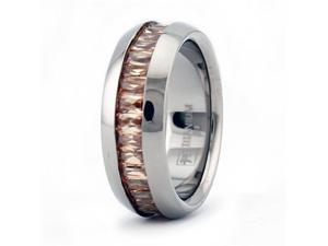Eternity Ladies Titanium Wedding Band w/ Garnet