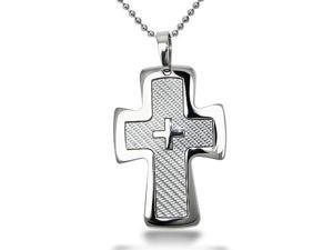 Stainless Steel Cross Pendant with Carbon Fiber Inlay