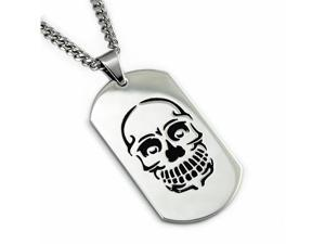 Men's Stainless Steel Dog Tag Pendant w/ Skull Engrave