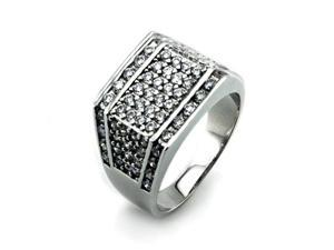 Silver Men's Ring w/ White Diamond CZ