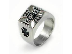 Stainless Steel Men's Cross Ring